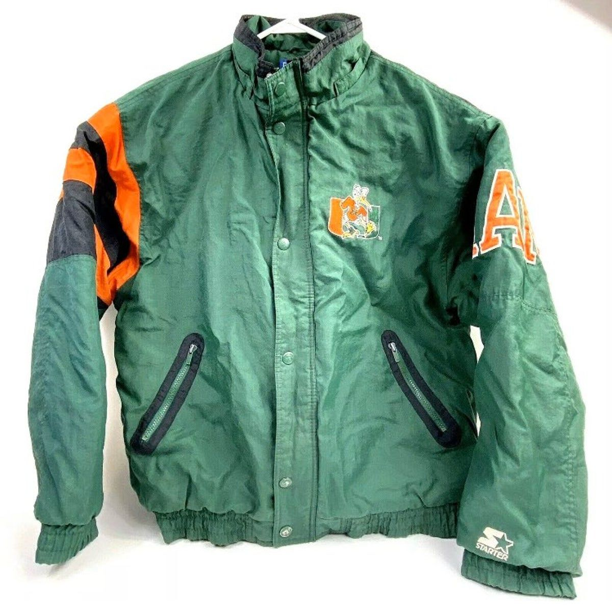 Miami Hurricanes Classic Starter Jacket Vintage Black Miami Hurricanes Jackets Vintage Jacket