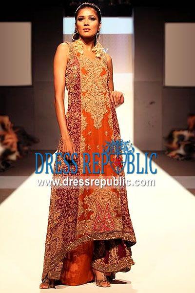 bfb7b812ba Poppy Vigo, Product code: DR8408, by www.dressrepublic.com - Keywords:  Burnt Orange Pakistani Designer Dresses, Latest Pakistani Designs for  Wedding Parties