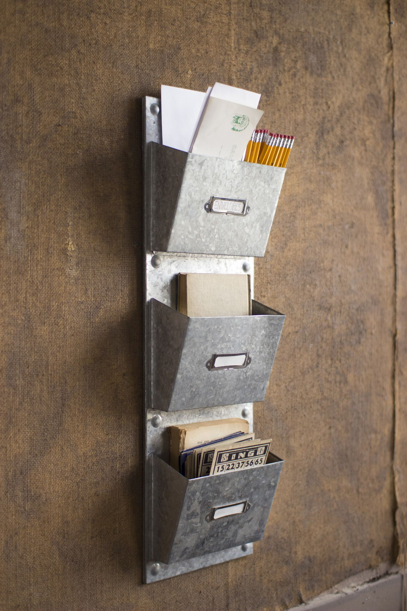 Three Pocket Vertical Galvanized Organizer Home Office Decor