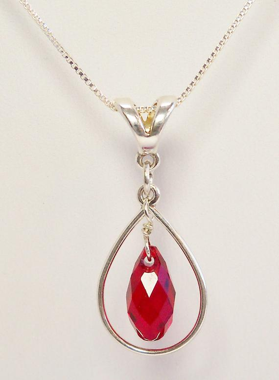 196f5bbf6 Red Swarovski Teardrop Pendant with Sterling Silver Oval Hoop, Briolette Ruby  Crystal Necklace, July