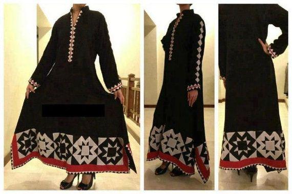 Handmade pakistani indian asian applique rilli kameez shirt dress