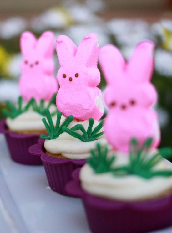 just Peep it.... this would make such a cute easter breakfast idea - carrot muffins with a little cream cheese frosting and a peep in their easter basket