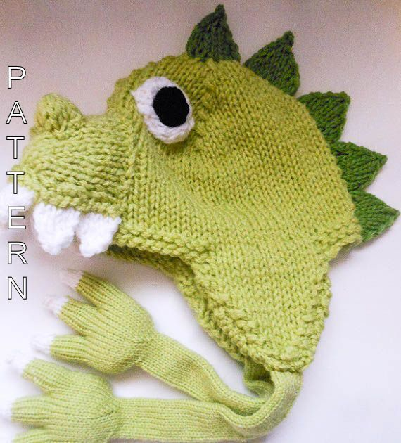Adorably cute Dinosaur Dragon knitted hat pattern with the unique addition  of adorably cute paws with claws for ties bcfb6dfcfcf