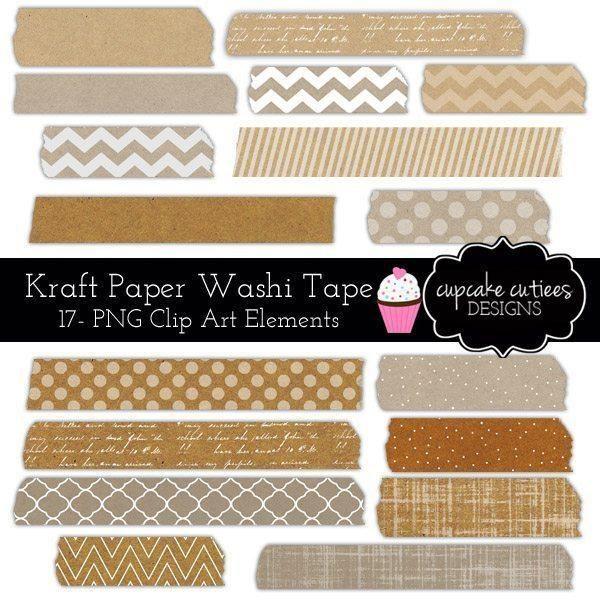 Kraft Paper Washi Tape Digital Clip Art Elements Washi Tape Washi Tape Planner Washi