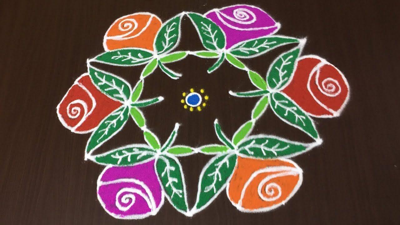 Rose Rangoli 9 To 5 Dots Simple Kolam Designs Rangoli Ka Design Kolam Designs Rangoli Designs With Dots Rangoli Designs