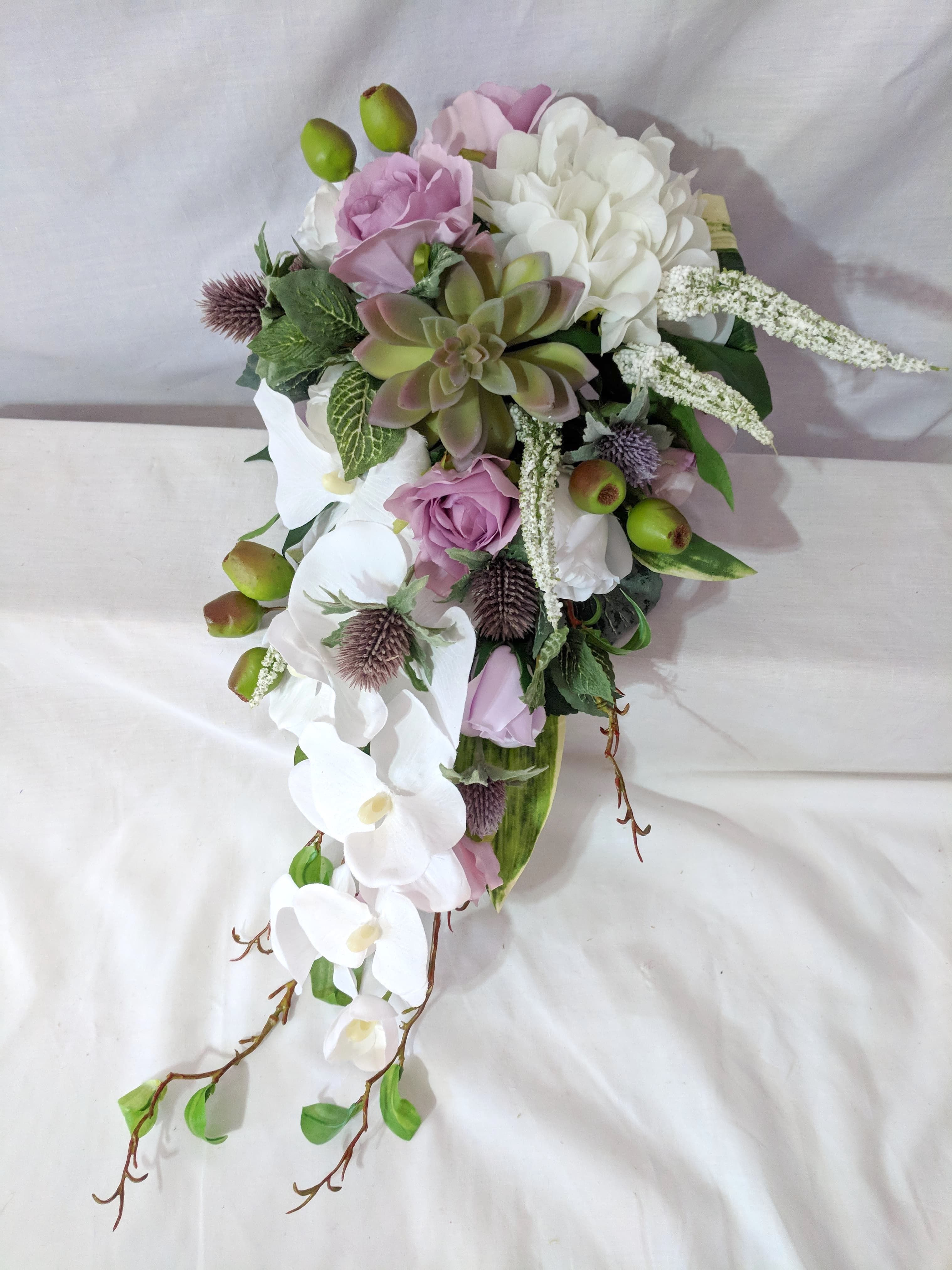 Silk white phal orchids and hydrangea, lavender roses