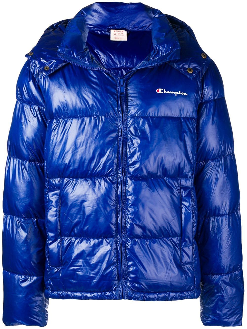 Champion Hooded Padded Jacket In Blue Modesens Padded Jacket Jackets Winter Jackets [ 1334 x 1000 Pixel ]