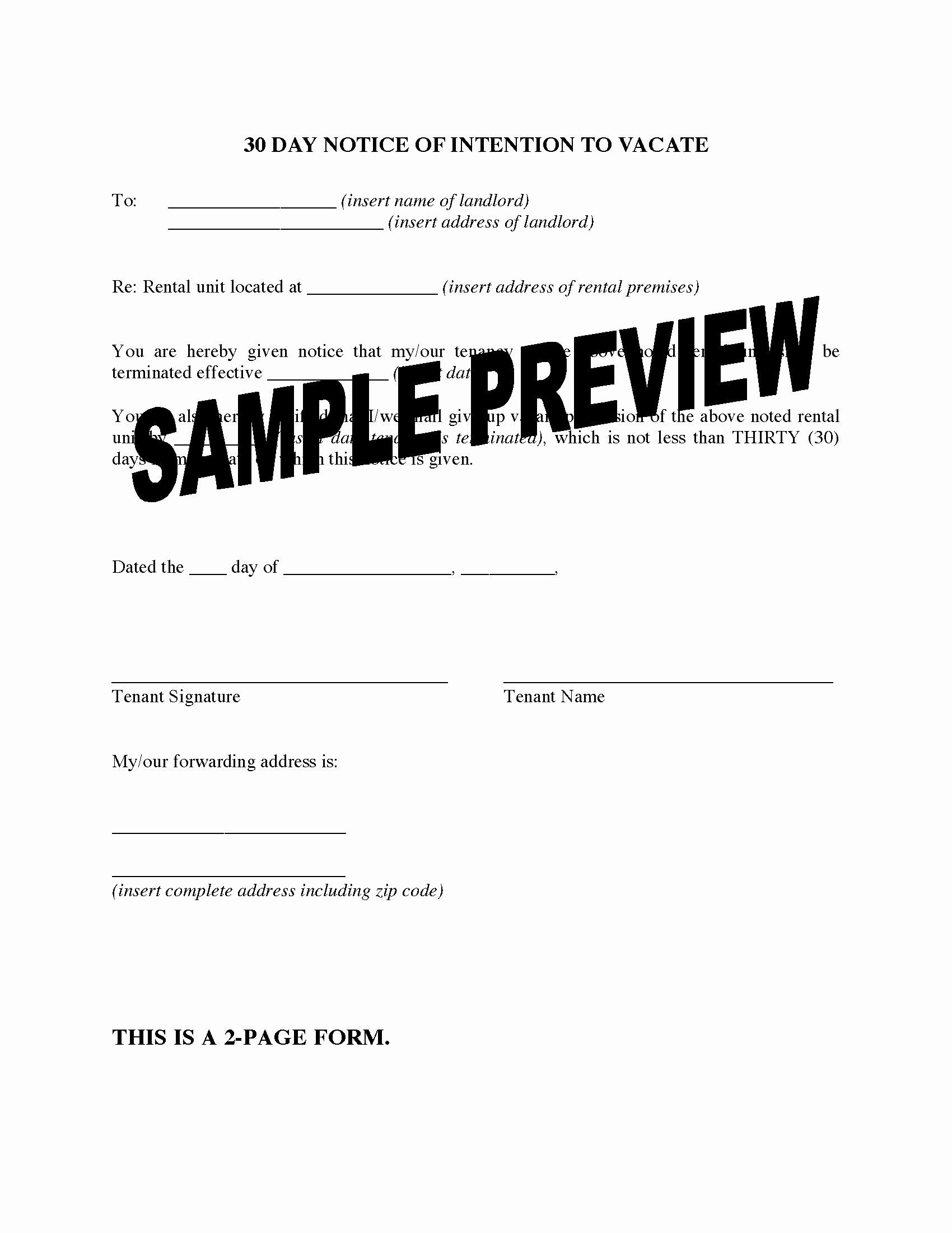 Landlord Notice To Vacate Fresh Texas 30 Day Notice To Landlord Of Intention To Vacate Being A Landlord Gift Certificate Template Word Budget Planner Template Notice to quit form pa