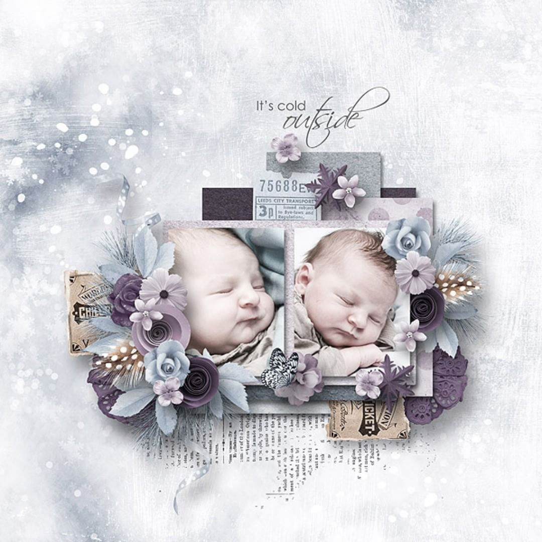 It's cold outside layout by tiz collection by MoosScrap's Designs  #thestudio #digitalscrapbooking #scrapbooking #art #layout #winter #snow #inspiration#itscold #cold