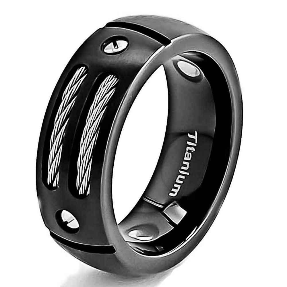 mens black titanium ring wedding band with stainless steel cables and screw design wedding ring - Titanium Wedding Rings For Men