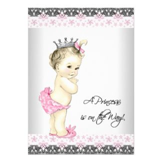 Pink Princess Baby Shower X Paper Invitation Card  Baby