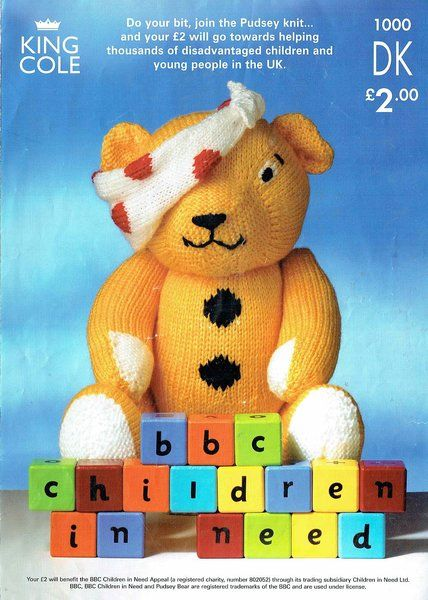 King Cole 100 Pudsey Bear Toy Knitting Pattern Knitting And