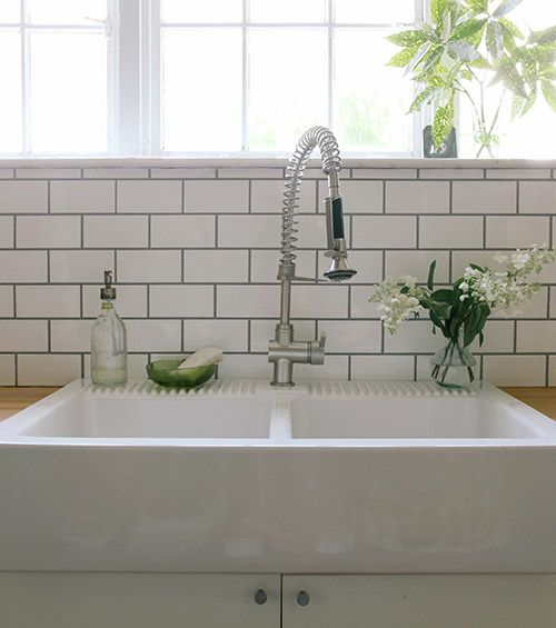 White Kitchen Tiles Grey Grout: Split Farmhouse Sink And Subway Tile