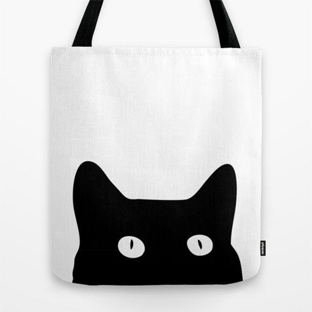 Borsa Gatto Nero   Society6 Promettiamo che questo gatto nero non ti porterà sfortuna!