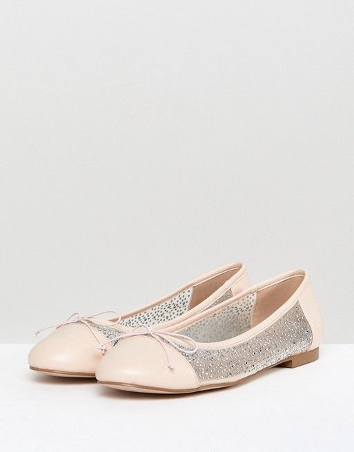 LIGHT SHOW Bridal Crystal Ballet Flats - Ivory Asos