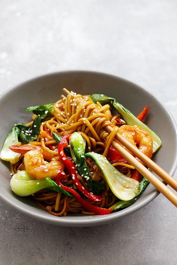 Shrimp Lo Mein (Best Chinese Recipe) Rasa Malaysia