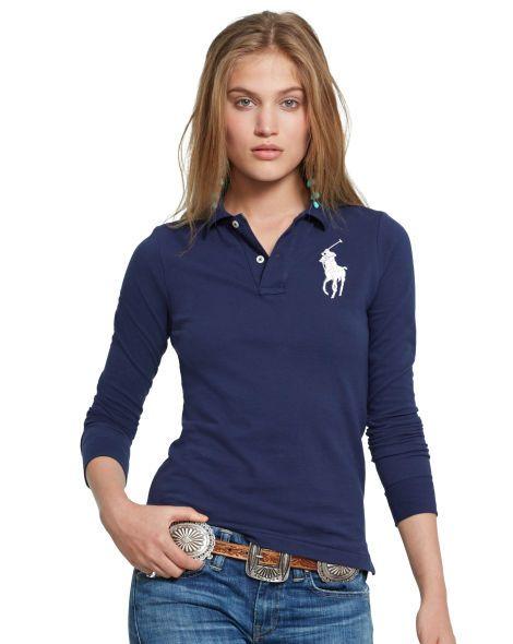 Skinny-Fit Big Pony Polo | Polo shirt women, Polo shirt girl ...