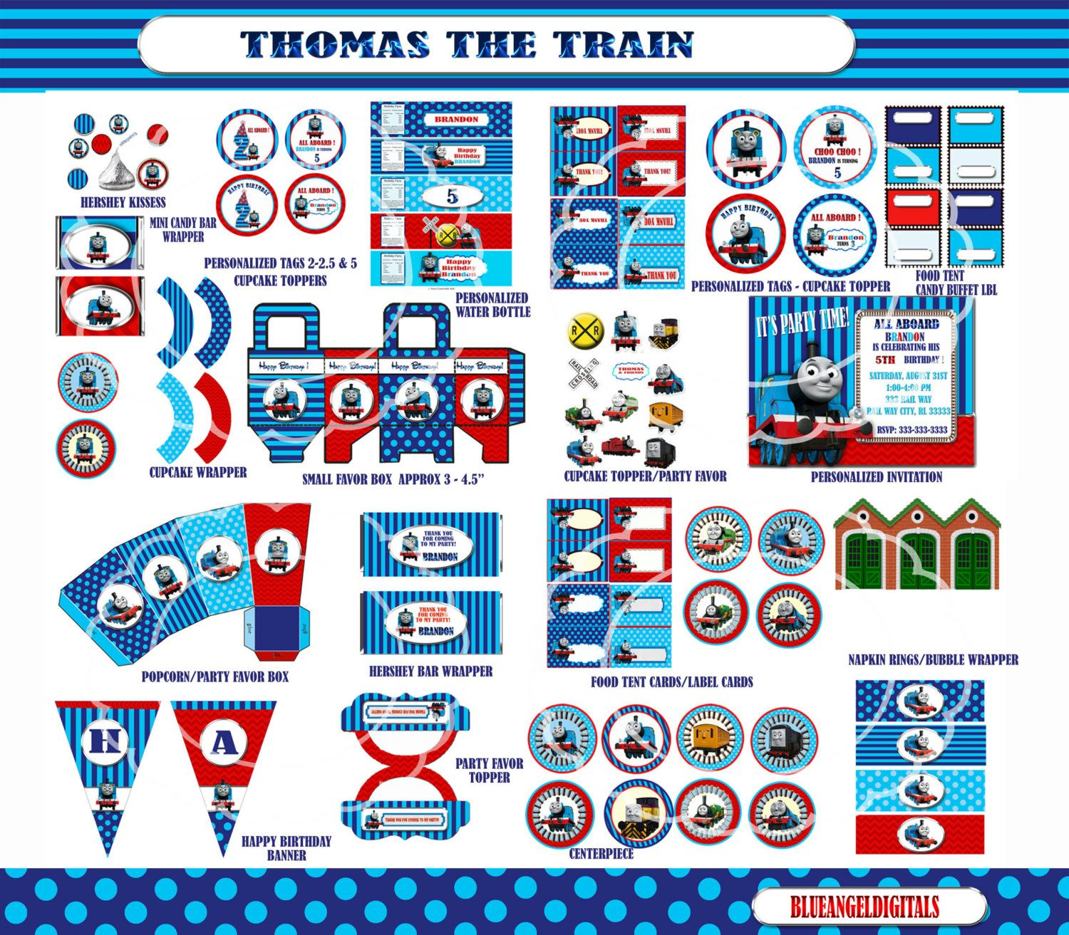Thomas the Train Party Thomas the Train by blueangeldigitals 2199