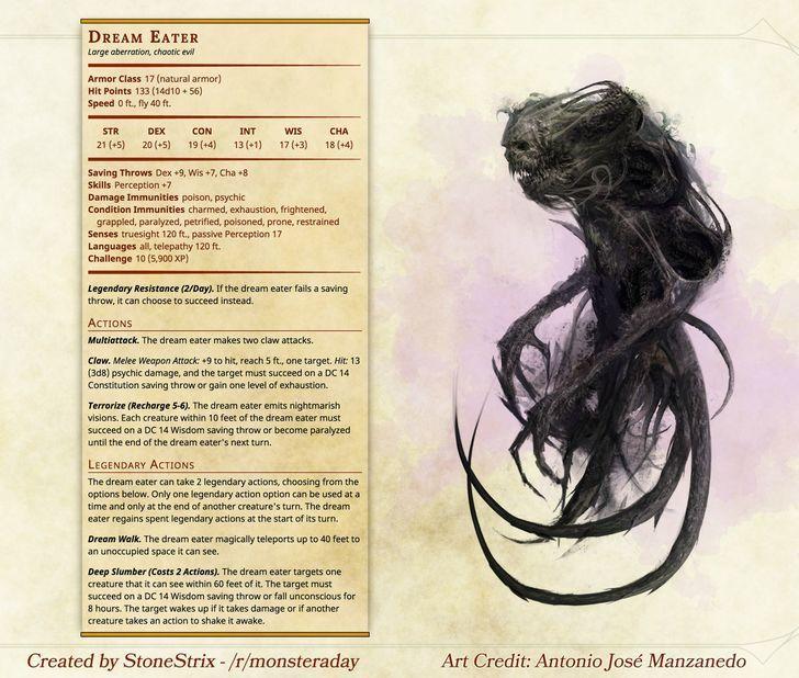 Dream Eater | DnD | Dnd monsters, Dnd 5e homebrew, Dungeons, dragons