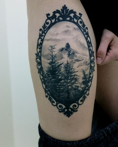 Photo of I really want something framed on my thigh… like a cameo Source: 1337tattoos B…