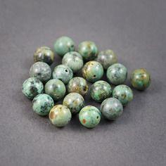 4 pcs - perles rondes • turquoise africaine • vert, gris  • veinées,  pailletées • couleurs naturelles • 12mm