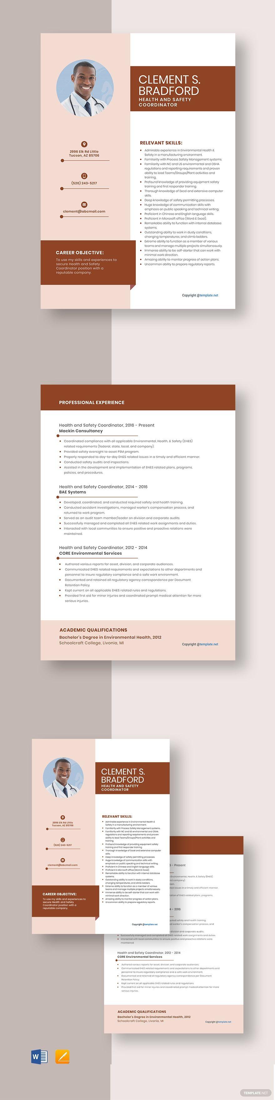 Health And Safety Coordinator Resume Cv Template Pdf Word Apple Pages Health And Safety Resume Template Resume