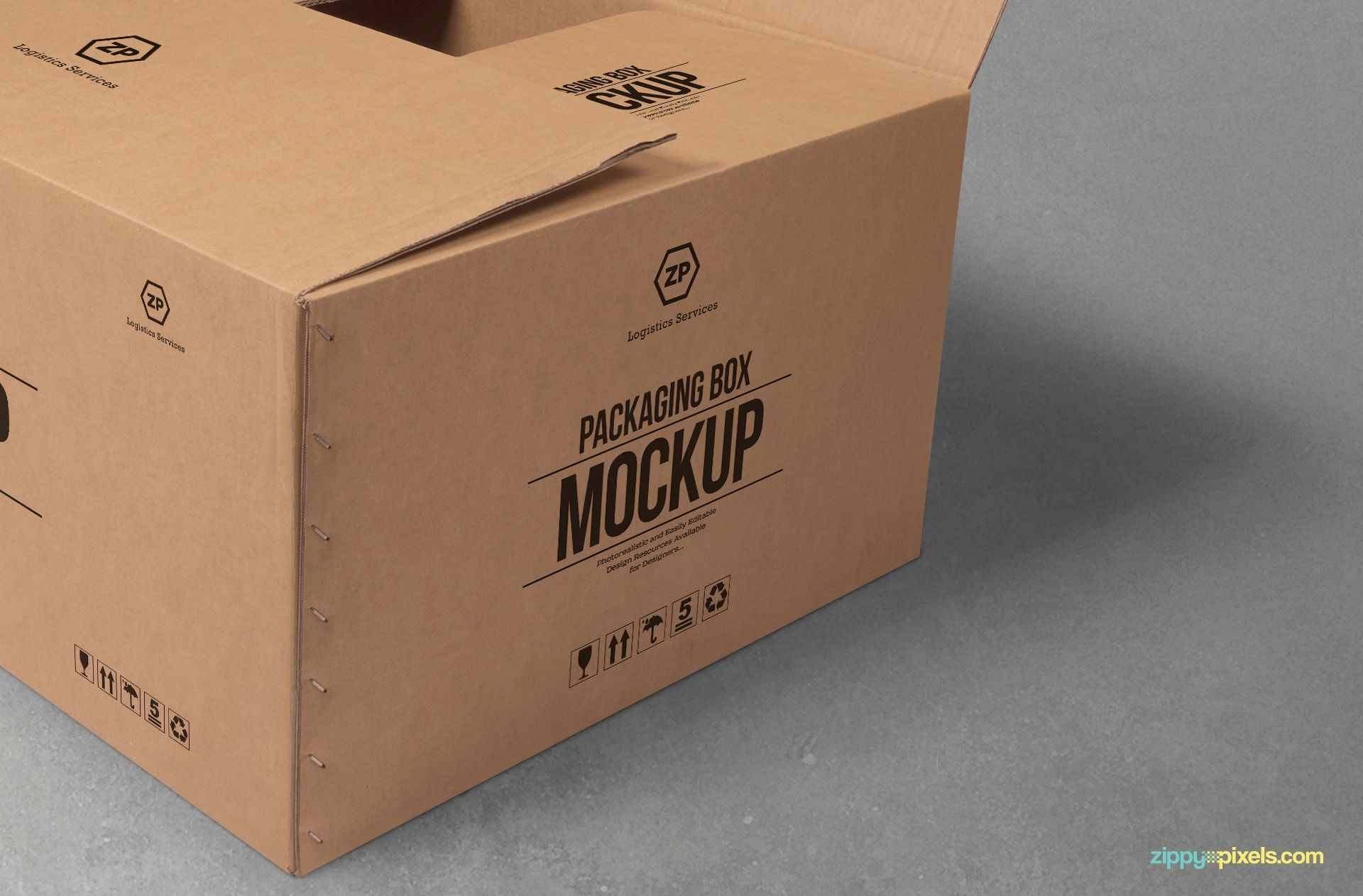 Download Free Cardboard Box Mockup Zippypixels Box Mockup Mockup Logo Design