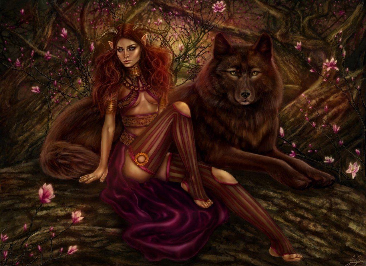Картинки фэнтези девушки животными