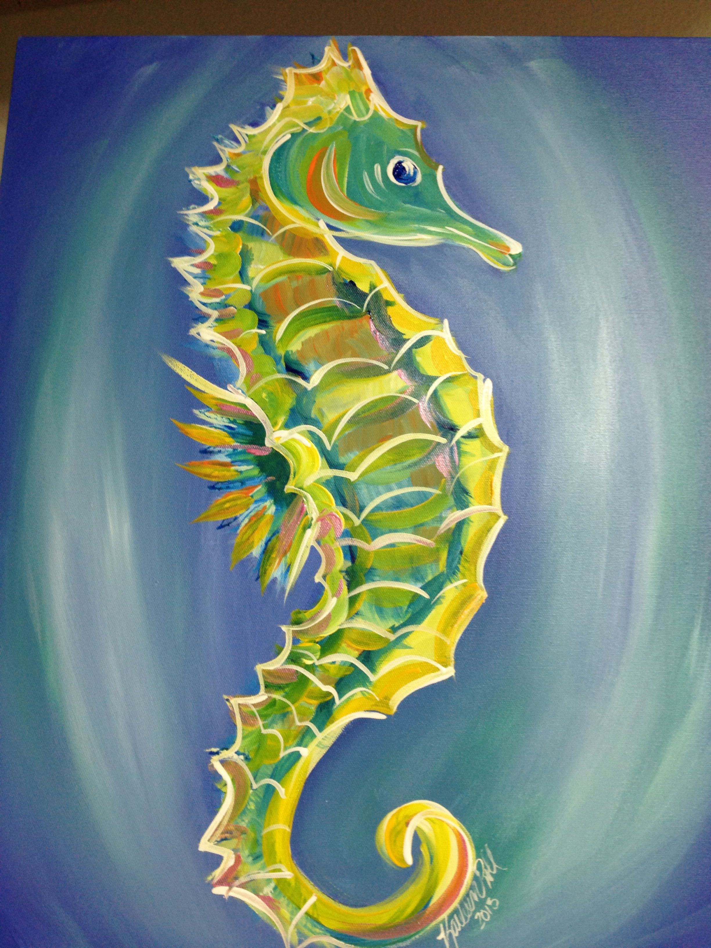 2013 Acrylic Seahorse Seahorse Painting Seahorse Art Horse Paintings Acrylic