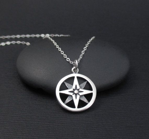 Sterling Silver North Star Compass Charm