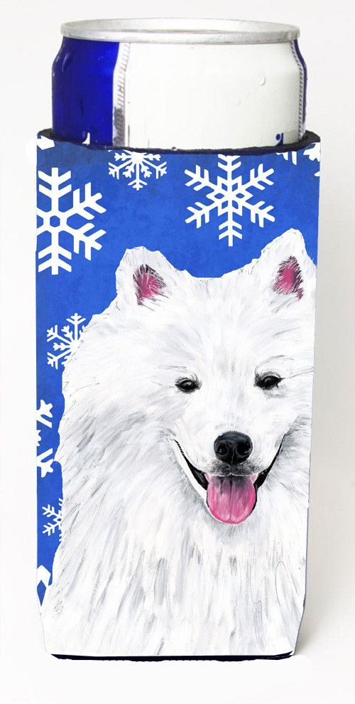 American Eskimo Winter Snowflakes Holiday Ultra Beverage Insulators for slim cans SC9379MUK