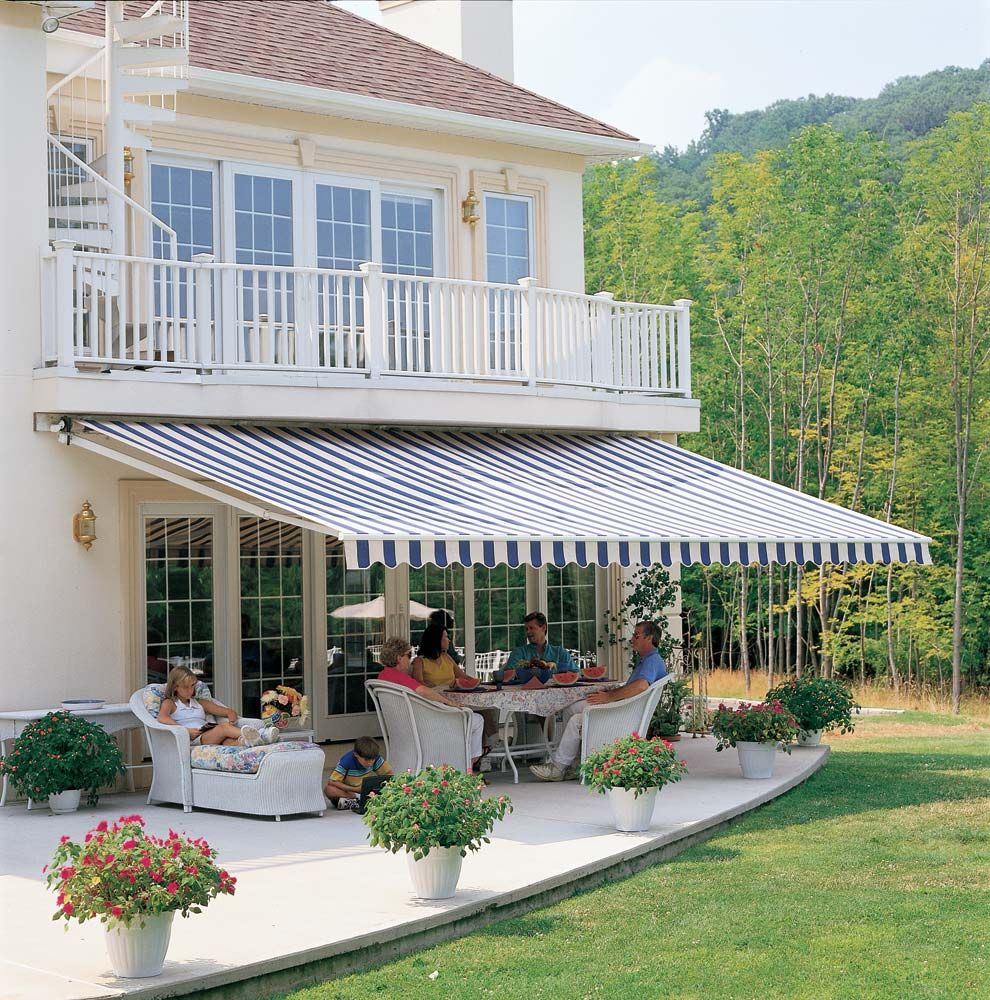 Having a great time under a Durasol retractable awning available in