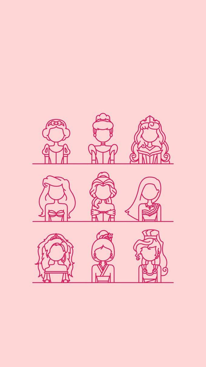 ディズニー プリンセス ミニマルスタイル ディズニーの使える壁紙