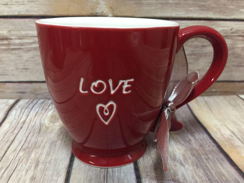 Captivating Starbucks Coffee Mug Red Love Charm Heart Ceramic