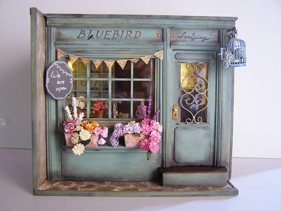 hand made miniature scene 1 12 scale bluebird lodging. Black Bedroom Furniture Sets. Home Design Ideas