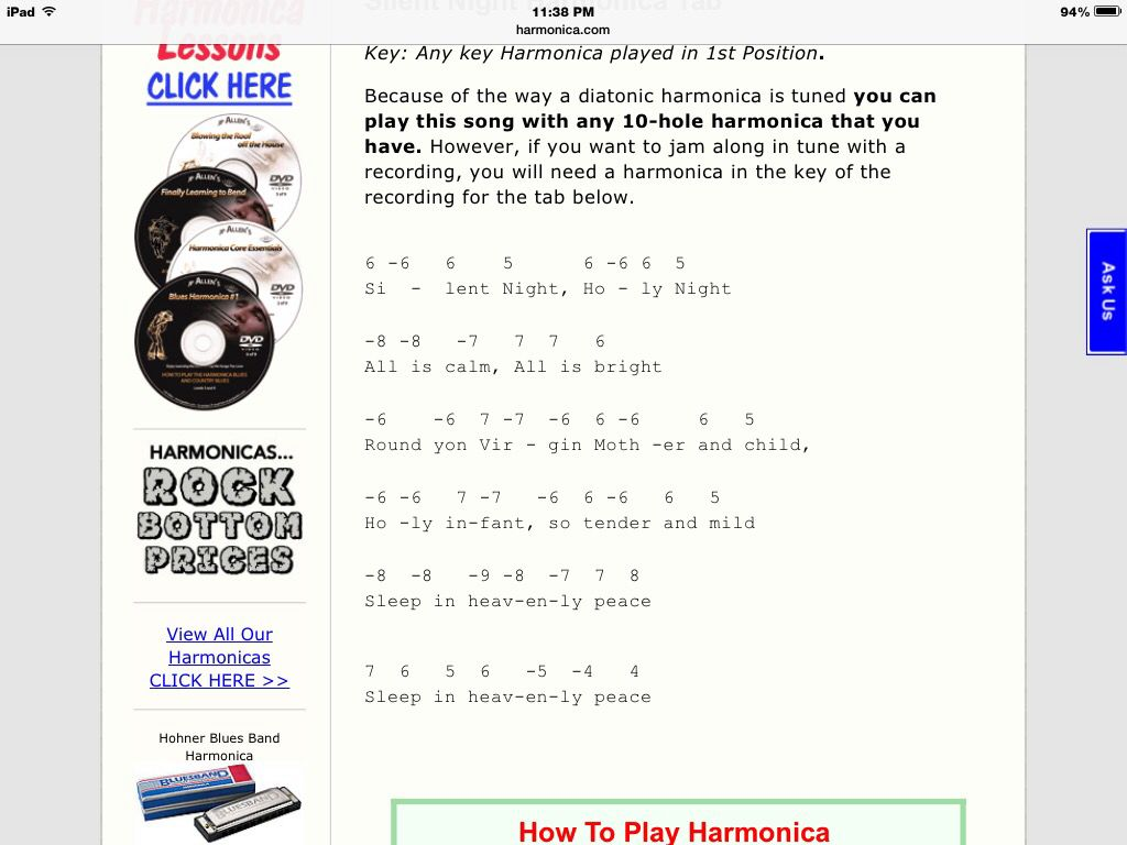 Christmas Songs 15 Songs And Harmonica Tabs Silent Night The First