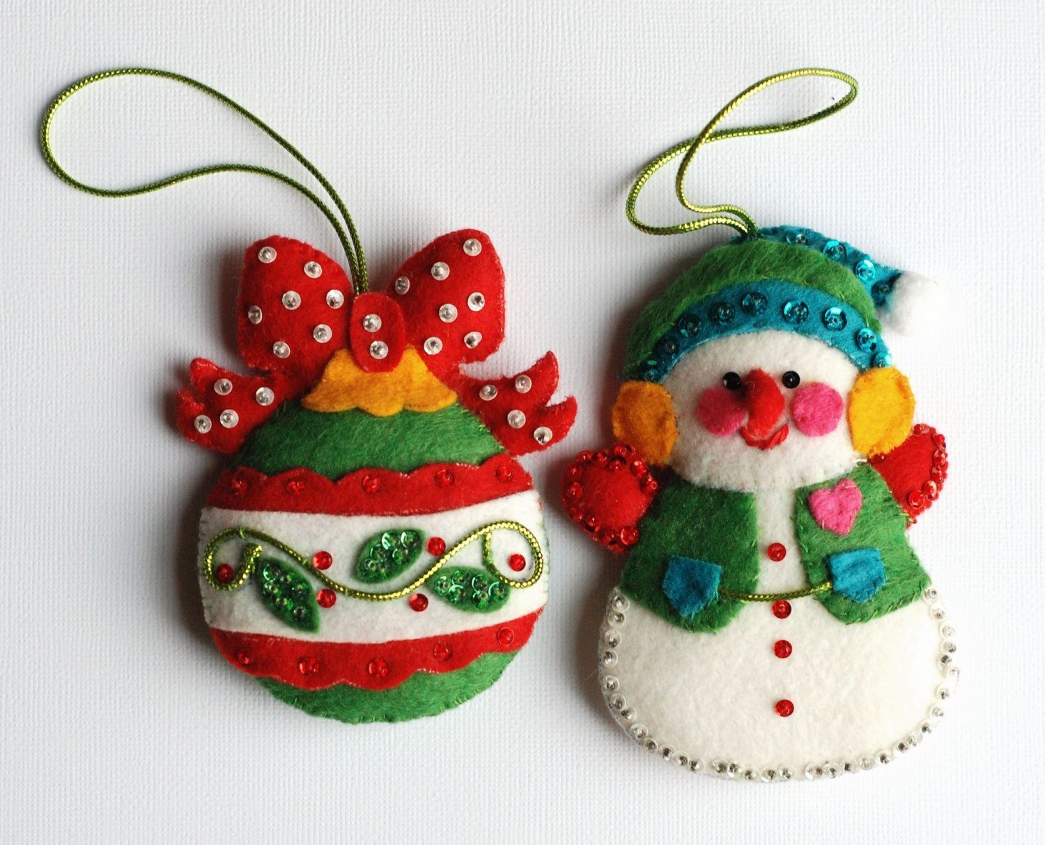 Vintage Felt Christmas Ornaments With Sequins Felt Ornaments In