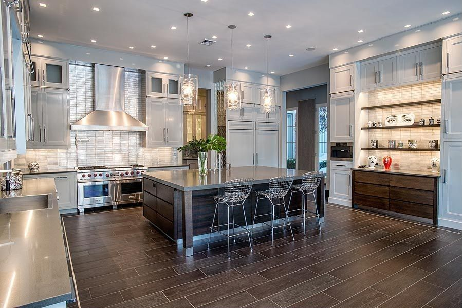 Contemporary Kitchen With Metal Tile Flush Bertoia  Wire Classy Kitchen Designs With High Ceilings 2018