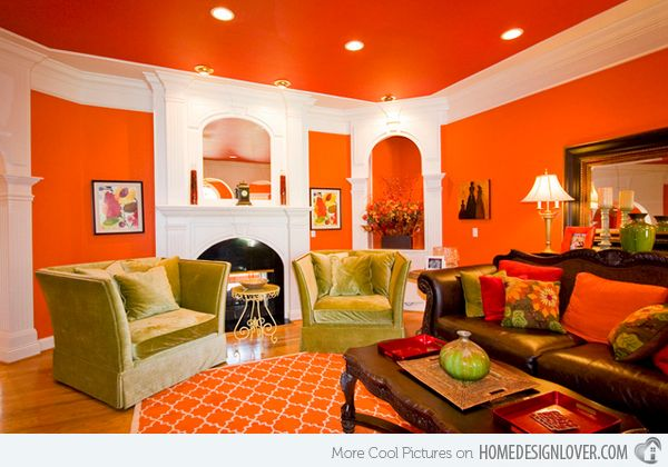Delicieux 15 Close To Fruity Orange Living Room Designs