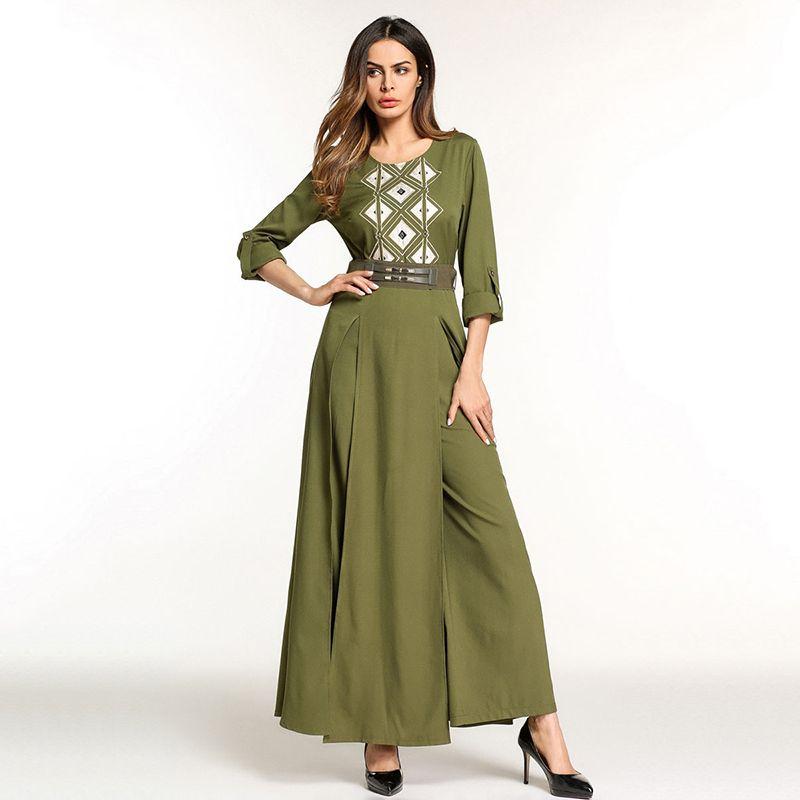 0f260916cc5c9 Elegant Embroidery Muslim Abaya Jumpsuit Full Dress Skirt Kimono ...