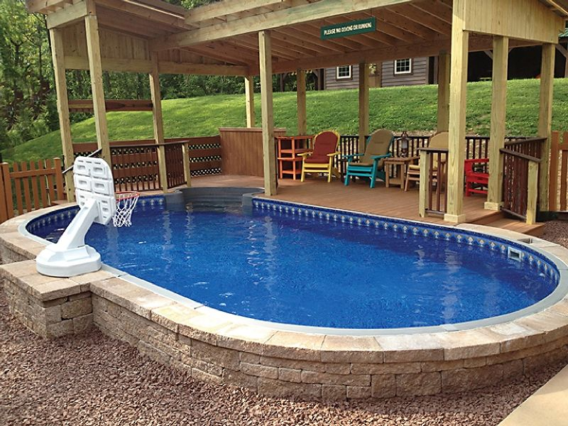 Large semi inground pool our house pinterest semi for Swimming pool patio designs