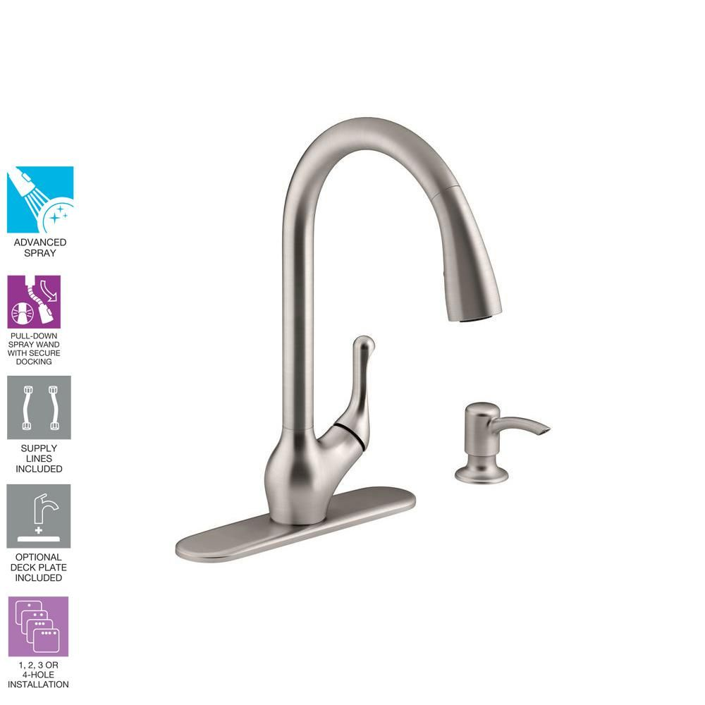 Kohler Barossa Single Handle Pull Down Sprayer Kitchen Faucet With Soap Lotion Dispenser In Vibrant Lotion Dispenser Kitchen Faucet Kitchen Faucet With Sprayer