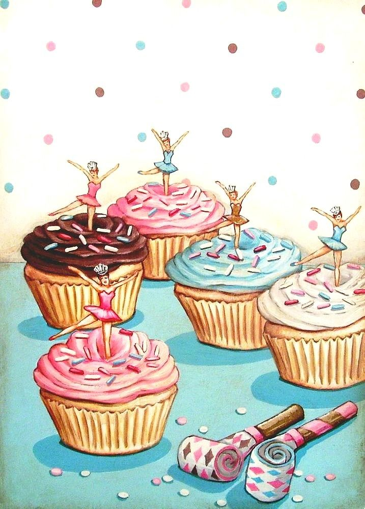 vintage bakery inspired ballerina birthday party cupcakes matted print by Everyday is a Holiday
