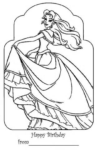 BARBIE COLORING PAGES HAPPY BIRTHDAY PAGE Barbie Princess