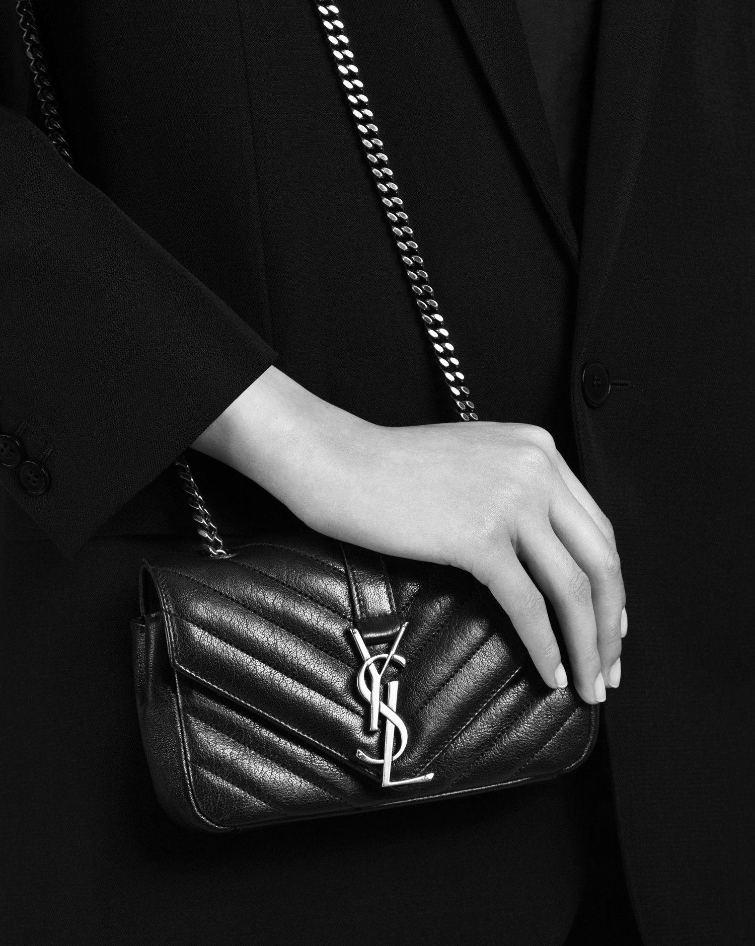 Saint Laurent CLASSIC Baby MONOGRAM SAINT LAURENT Chain Bag In Black  Matelassé Leather  dddc7a477d8a5