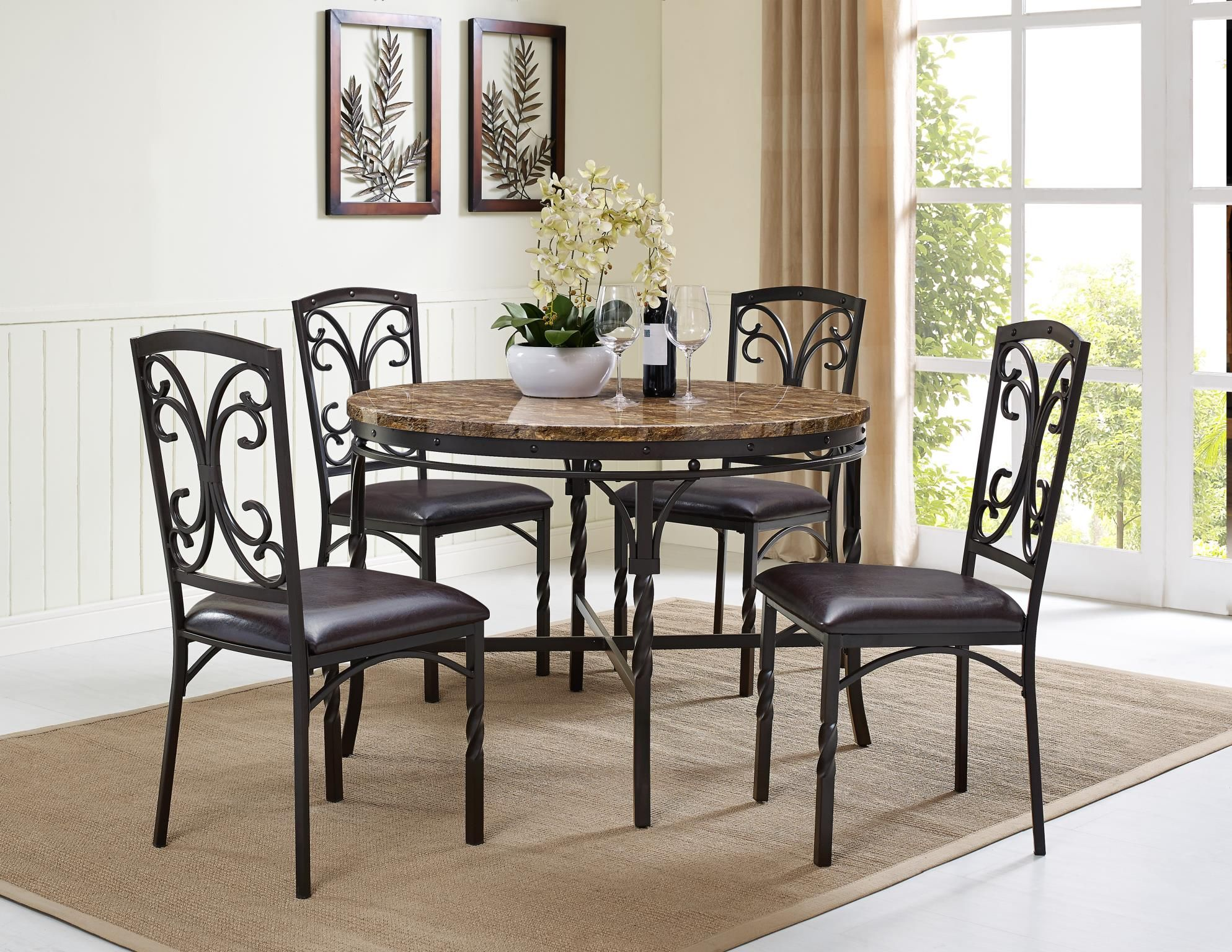 Beautiful Traditional Metal Dining Set Features Forged Twisted Metal Legs And A Faux Marble Top Scro Dining Table Setting Dining Room Sets Casual Dining Table