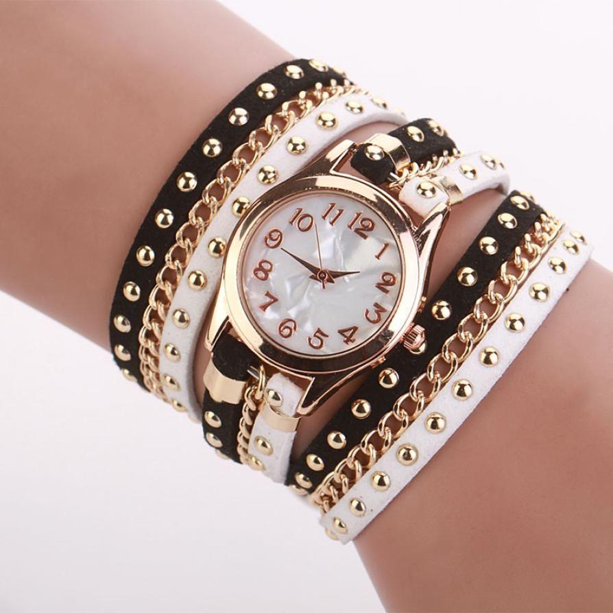 $2.88 (Buy here: http://appdeal.ru/4w9a ) Vintage Rivet Braided Winding Wrap Quartz-watch Women Top Brand Crystal Bracelet Watches Women's Wrist Watch Relogio Feminino for just $2.88