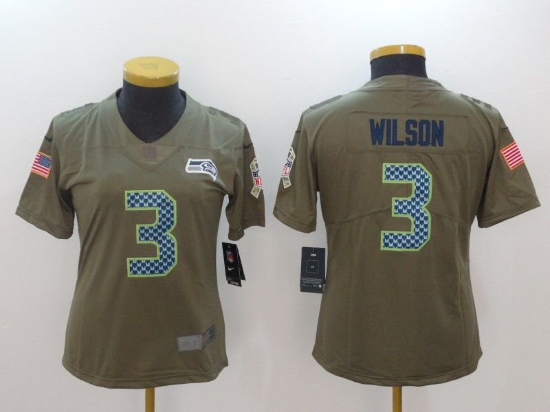 Women Seattle Seahawks 3 Wilson Nike Olive Salute To Service Limited  for sale