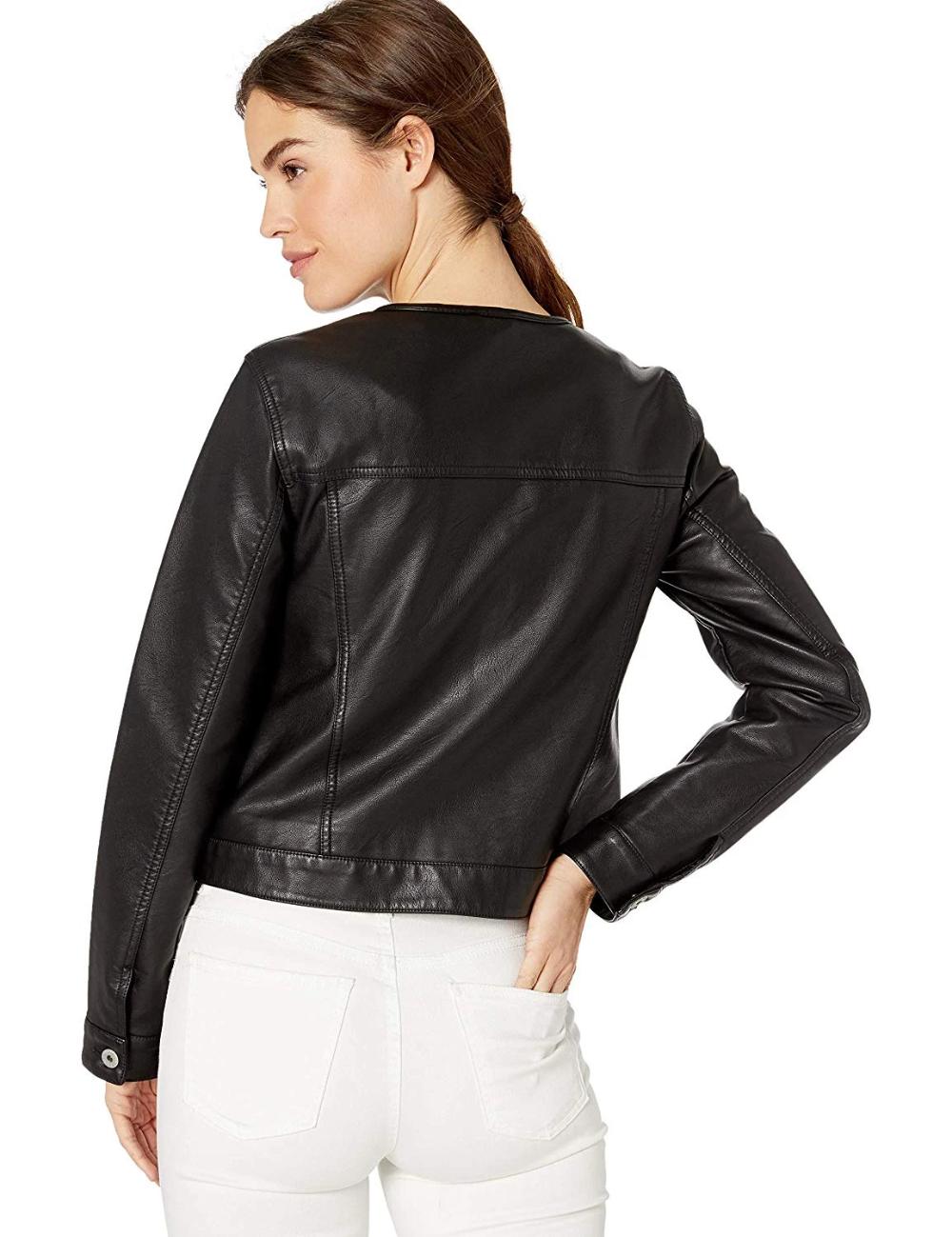 Levi S Women S Faux Leather Collarless Trucker Jacket Leather Jackets Women Womens Faux Leather Faux Leather Jacket Women [ 1299 x 1000 Pixel ]