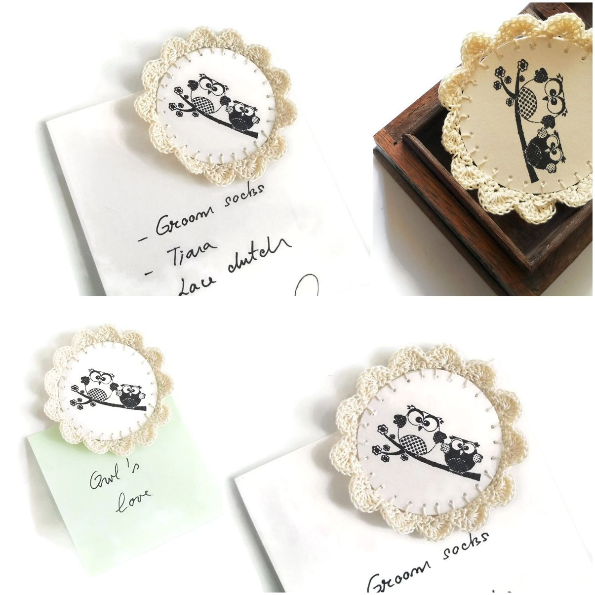 Crochet Wedding Favors Magnets Owls, could put picture instead | If ...